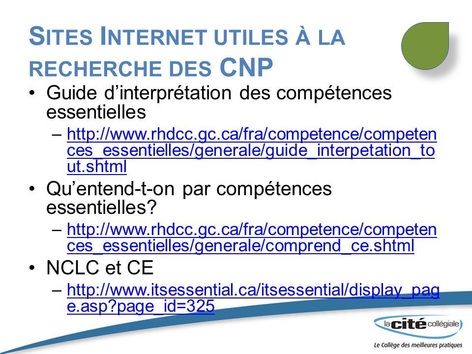 Sites Internet utiles à la recherche des CNP