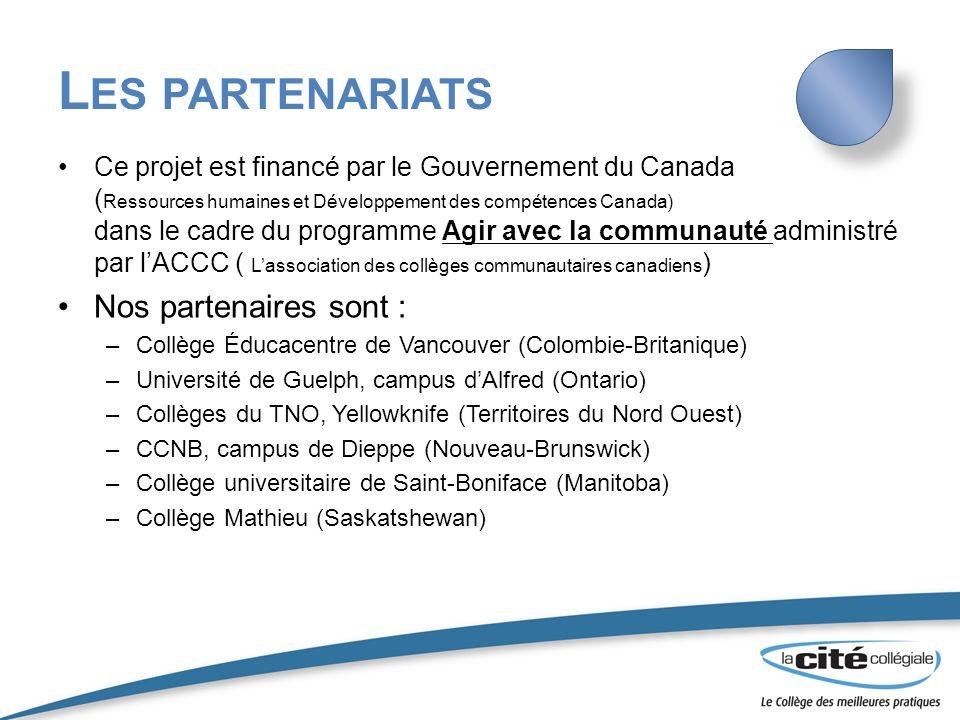 Les partenariats Nos partenaires sont :
