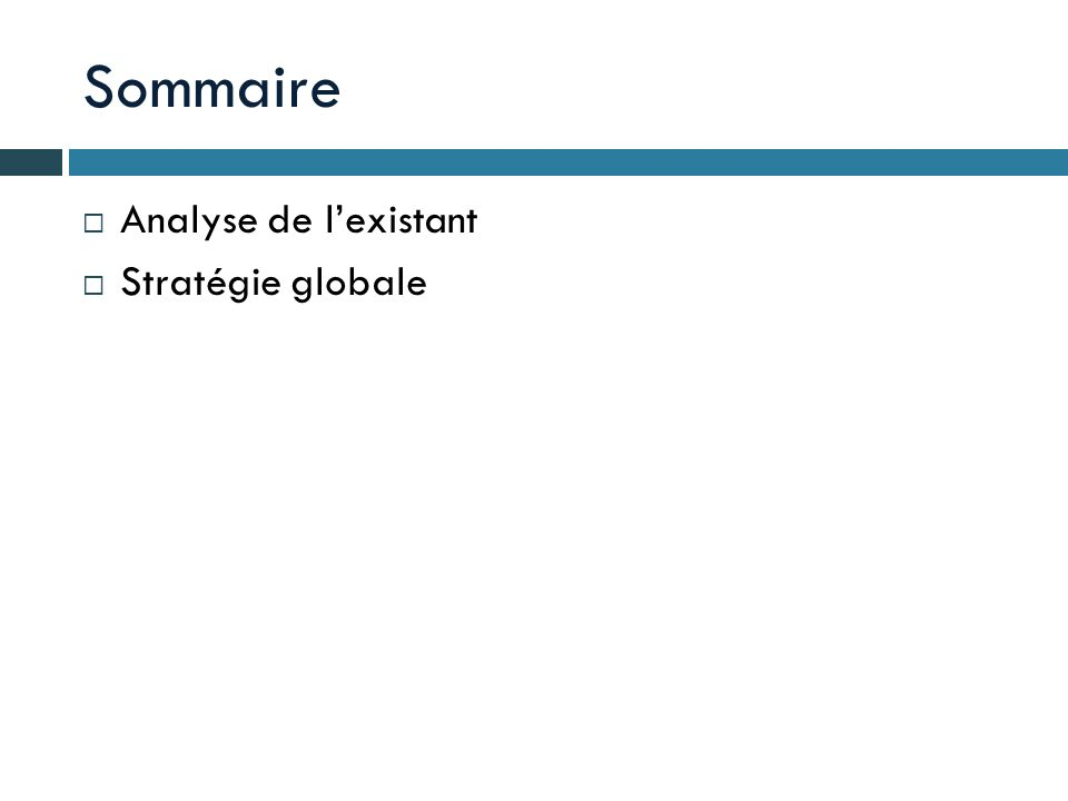 Sommaire Analyse de l'existant Stratégie globale