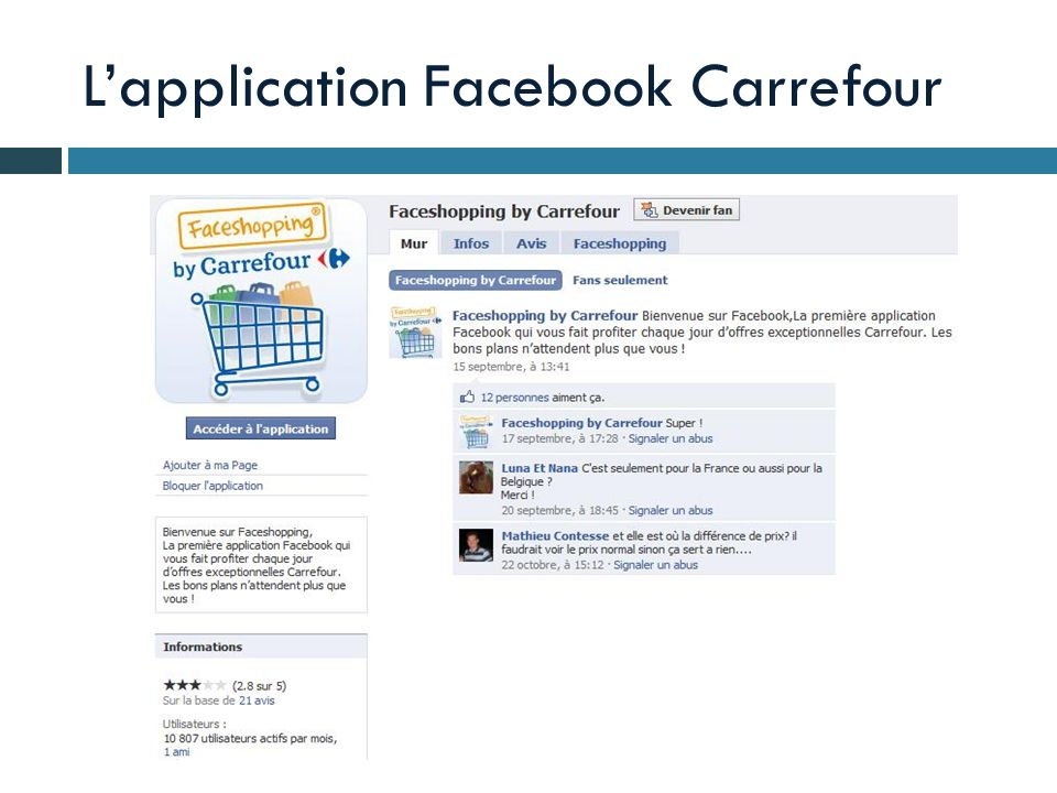 L'application Facebook Carrefour