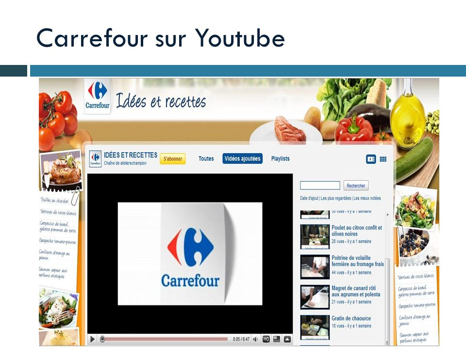 Carrefour sur Youtube