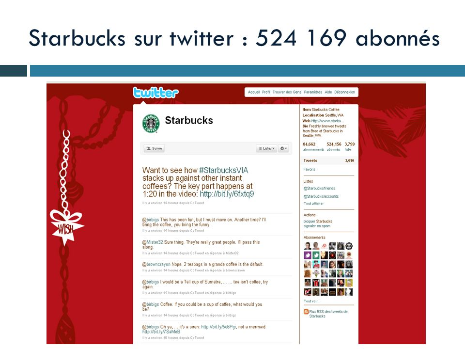 Starbucks sur twitter : 524 169 abonnés