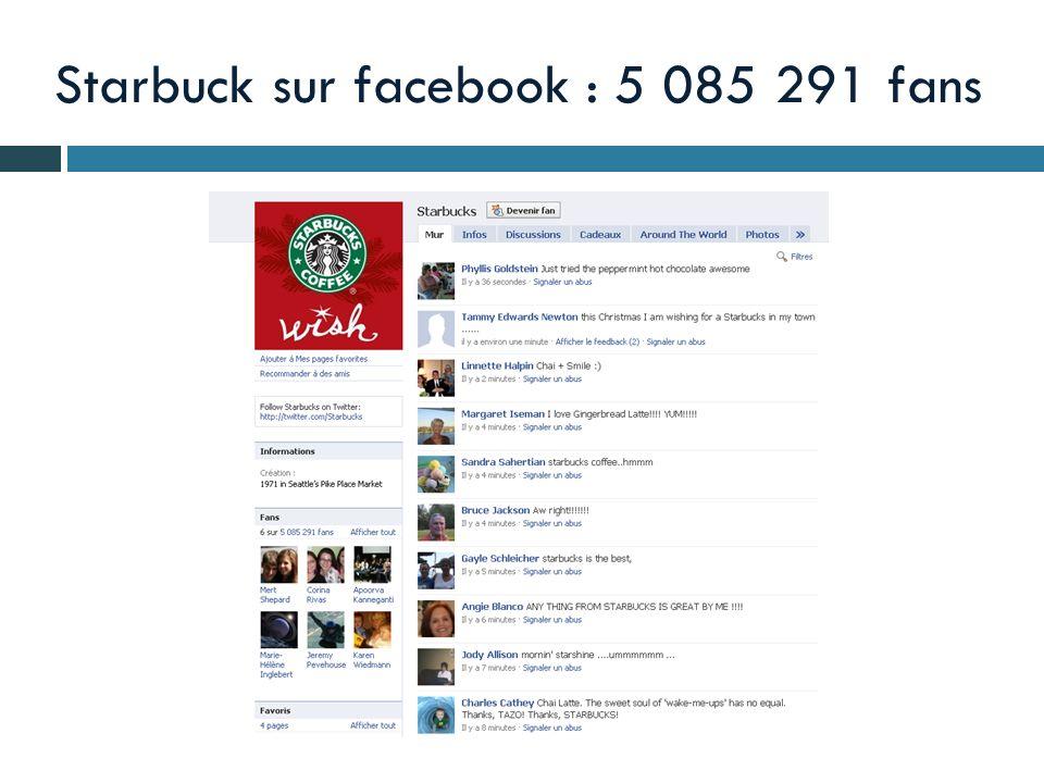 Starbuck sur facebook : 5 085 291 fans