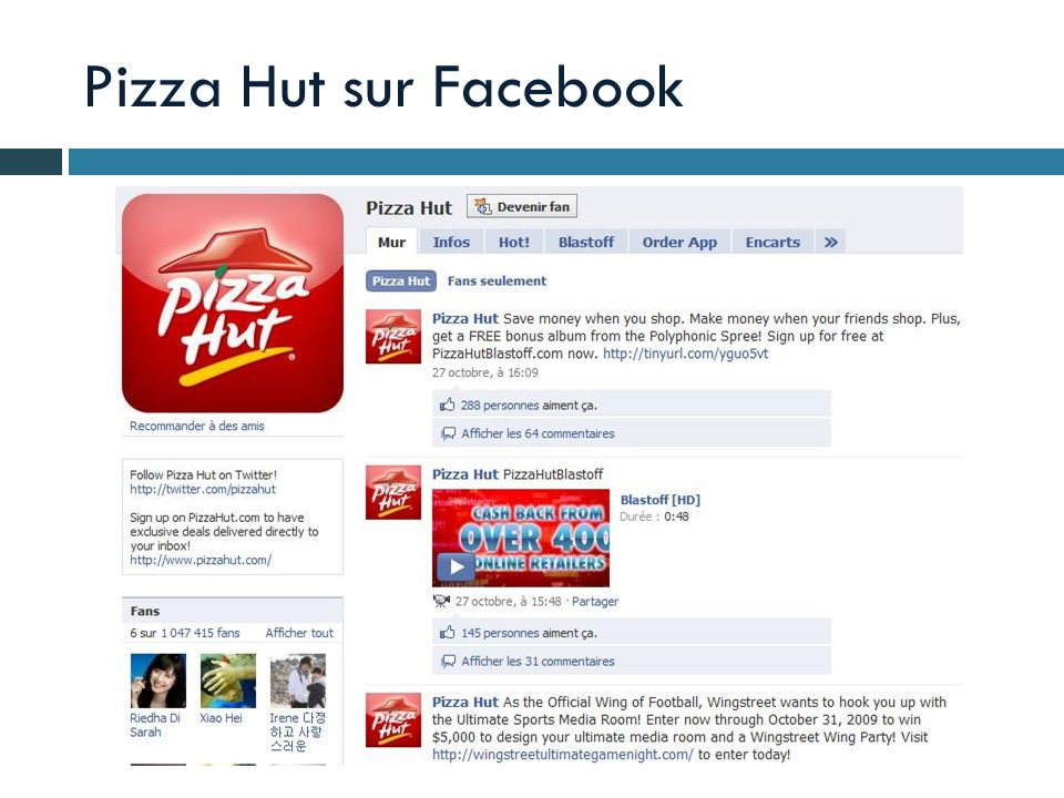 Pizza Hut sur Facebook