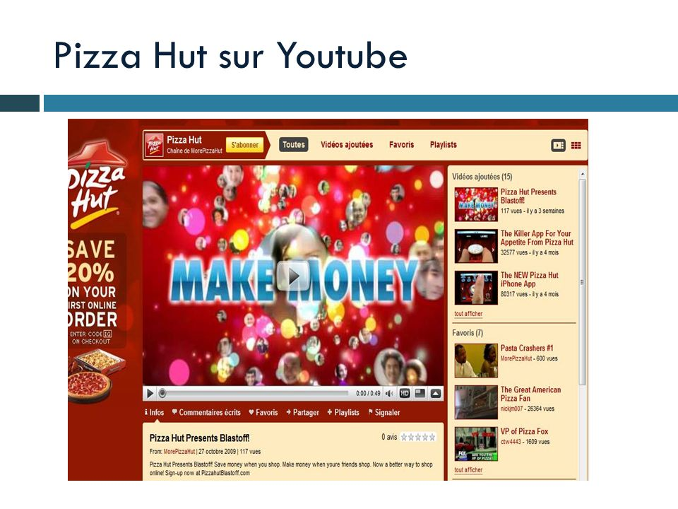 Pizza Hut sur Youtube