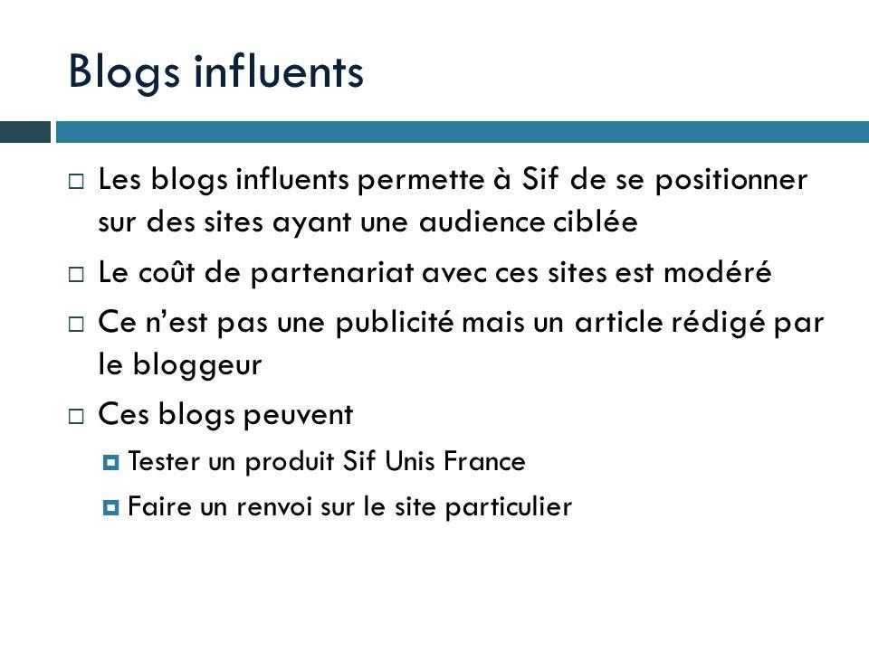 Blogs influents Les blogs influents permette à Sif de se positionner sur des sites ayant une audience ciblée.