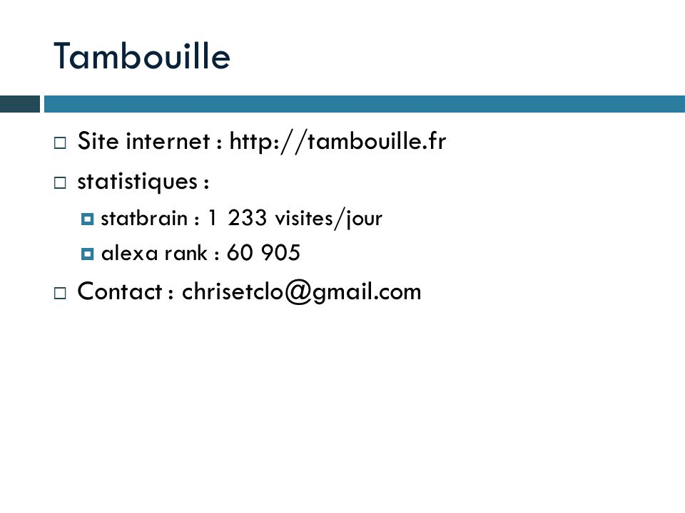 Tambouille Site internet : http://tambouille.fr statistiques :