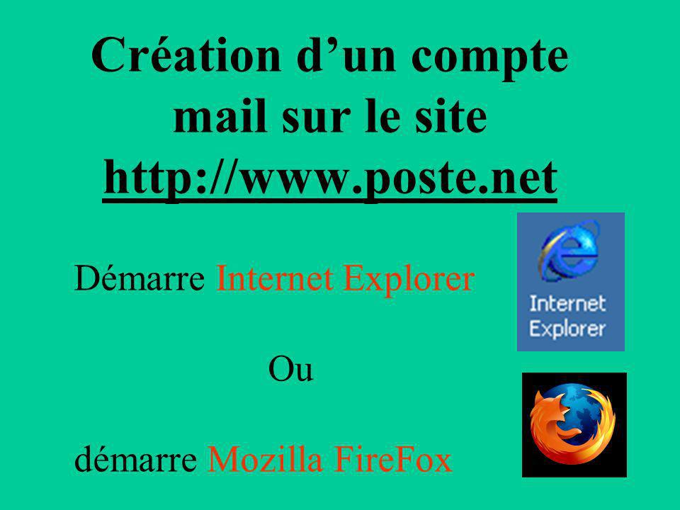Création d'un compte mail sur le site http://www.poste.net