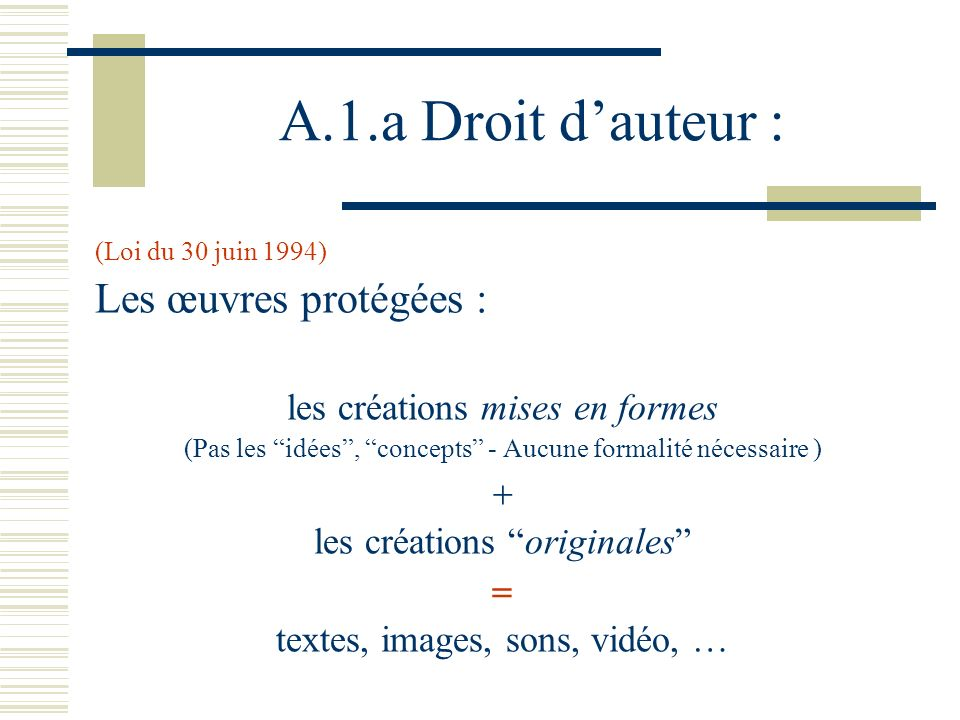 A.1.a Droit d'auteur : Les œuvres protégées :