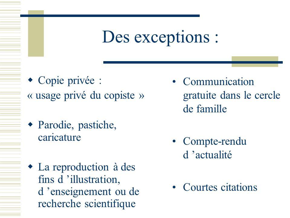 Des exceptions : Copie privée : « usage privé du copiste »