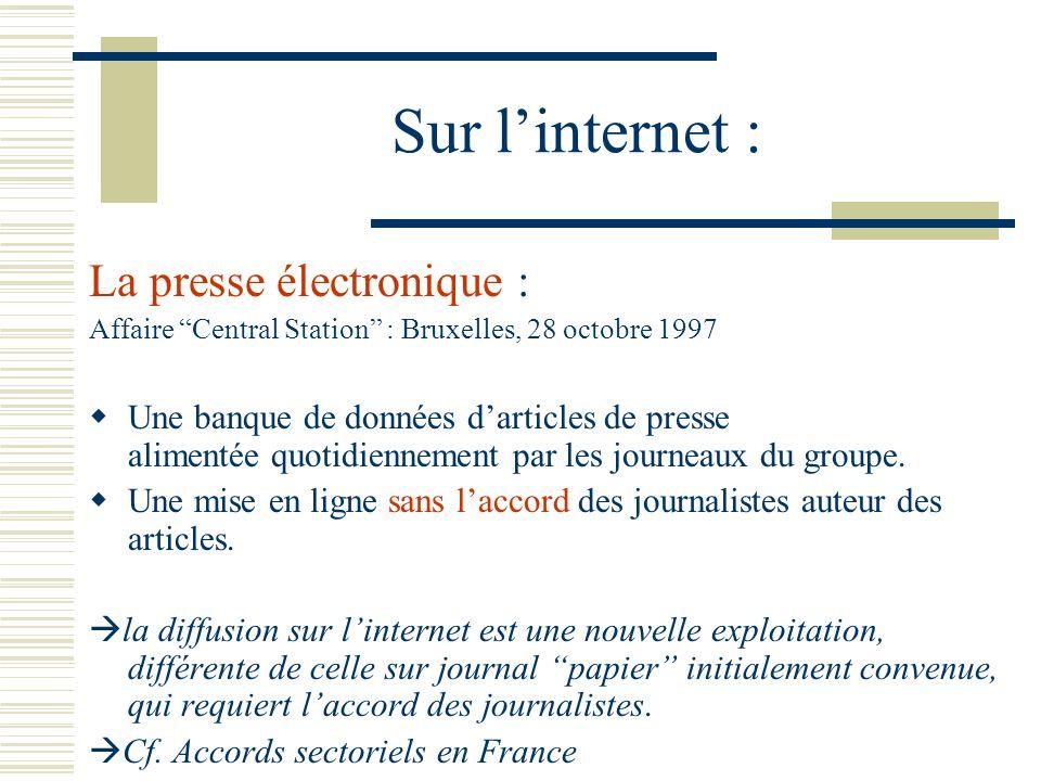 Sur l'internet : La presse électronique :