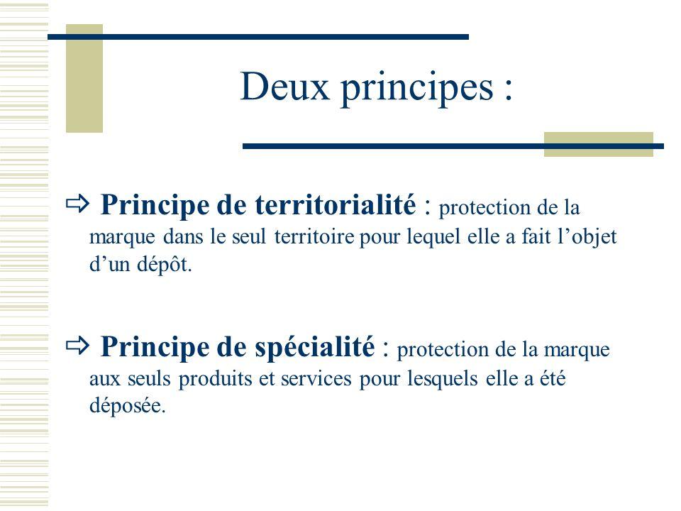 Deux principes :  Principe de territorialité : protection de la marque dans le seul territoire pour lequel elle a fait l'objet d'un dépôt.