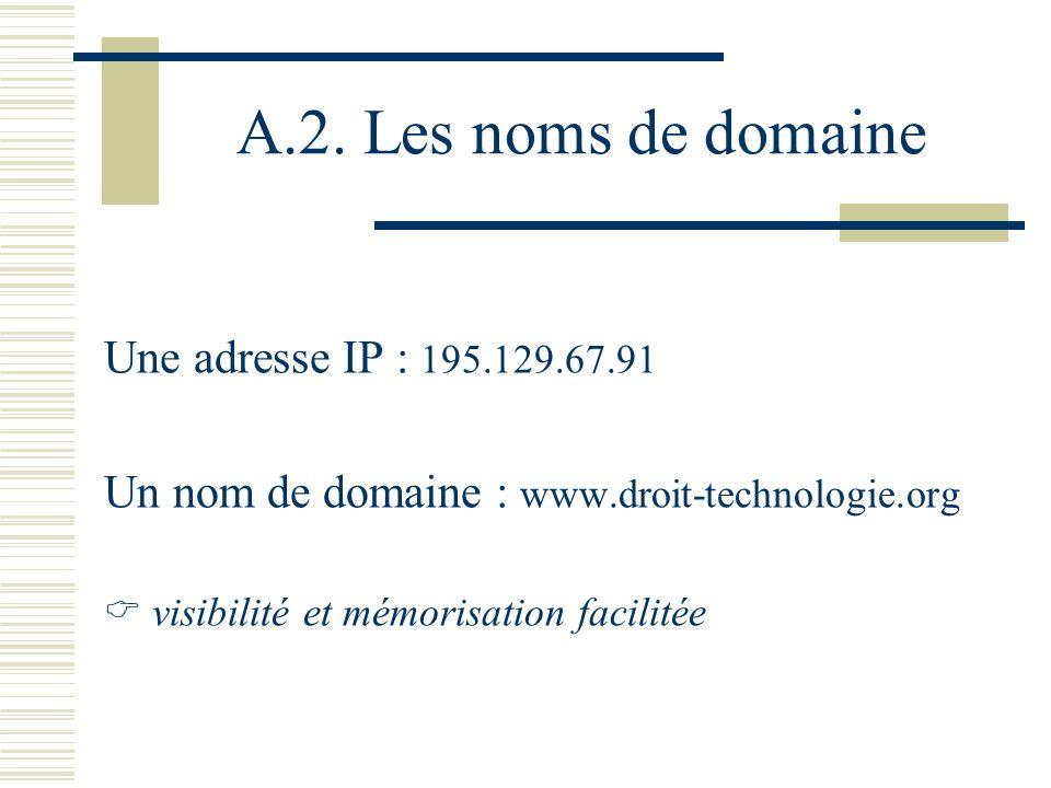 A.2. Les noms de domaine Une adresse IP : 195.129.67.91