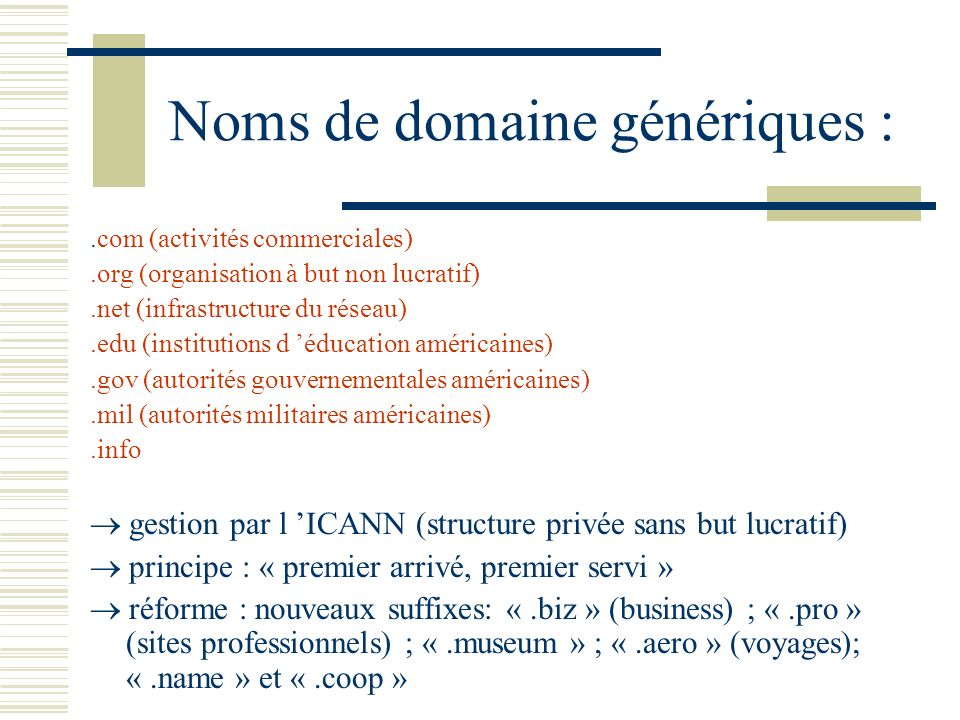 Noms de domaine génériques :