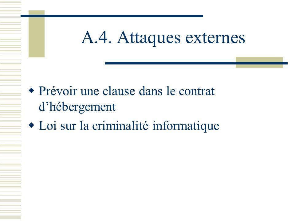 A.4. Attaques externes Prévoir une clause dans le contrat d'hébergement.