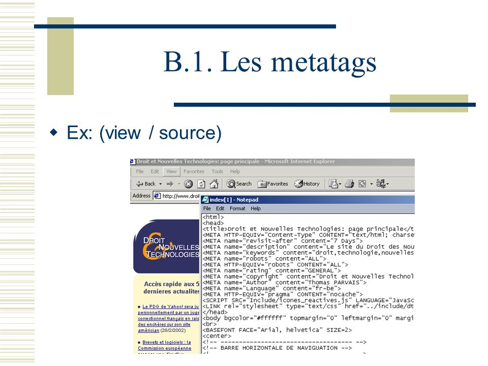 B.1. Les metatags Ex: (view / source)
