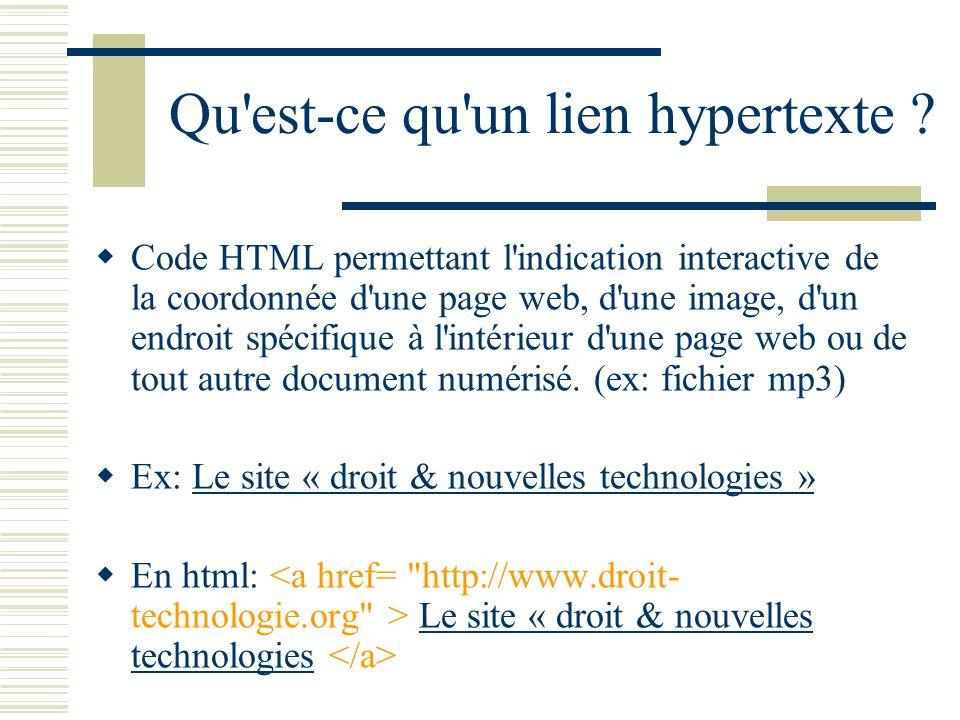 Qu est-ce qu un lien hypertexte
