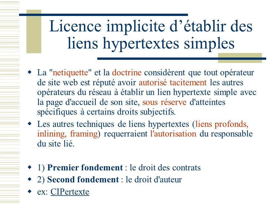 Licence implicite d'établir des liens hypertextes simples