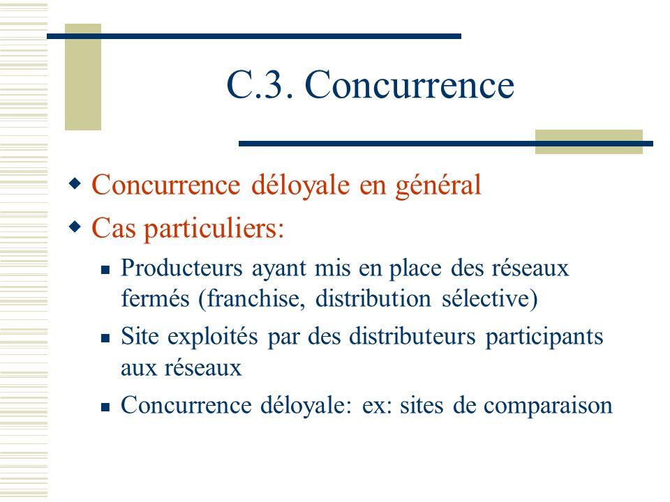 C.3. Concurrence Concurrence déloyale en général Cas particuliers:
