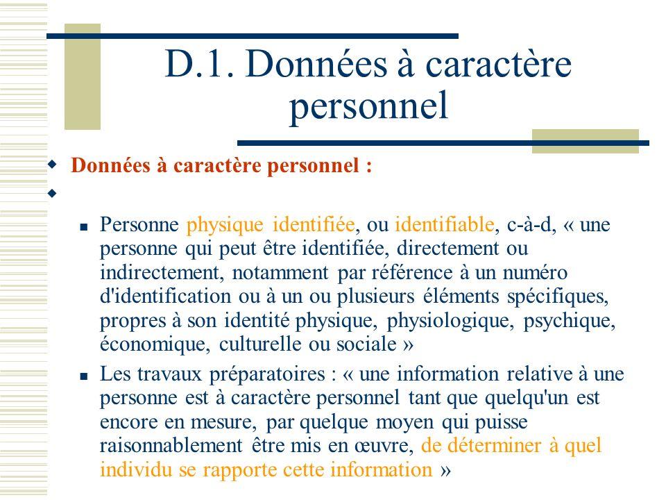 D.1. Données à caractère personnel