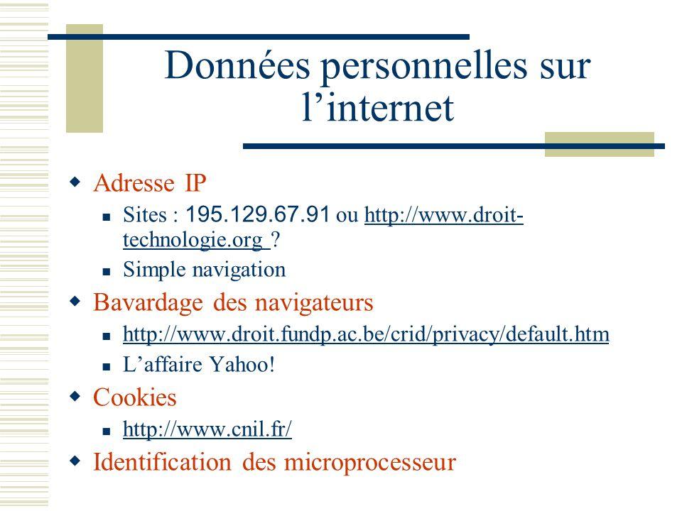 Données personnelles sur l'internet