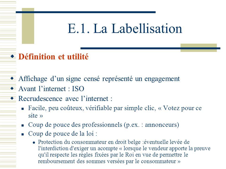 E.1. La Labellisation Définition et utilité