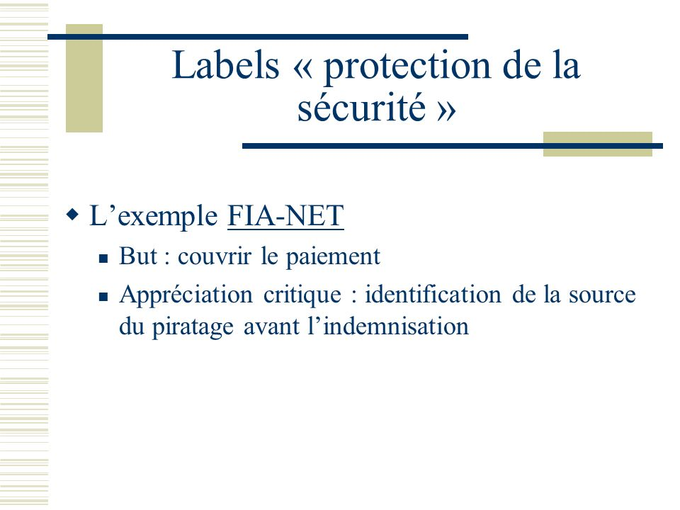Labels « protection de la sécurité »