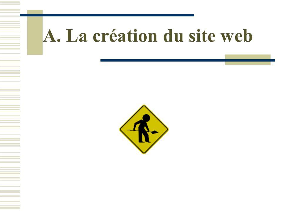 A. La création du site web