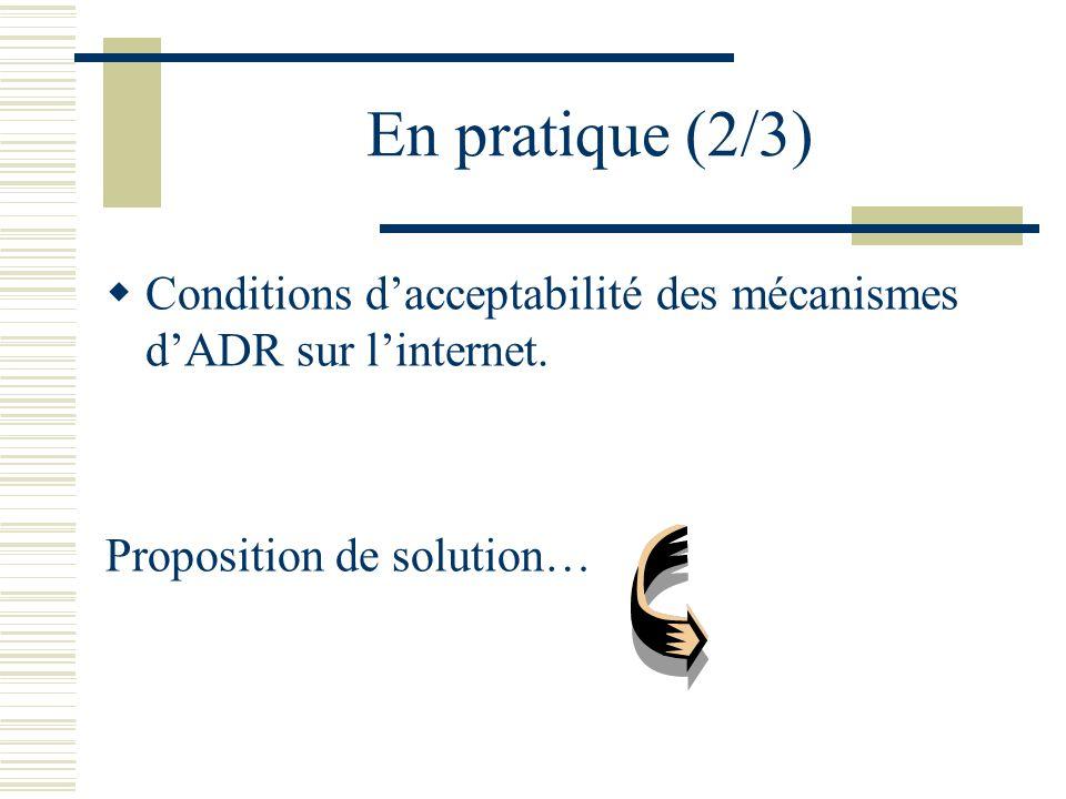 En pratique (2/3) Conditions d'acceptabilité des mécanismes d'ADR sur l'internet.