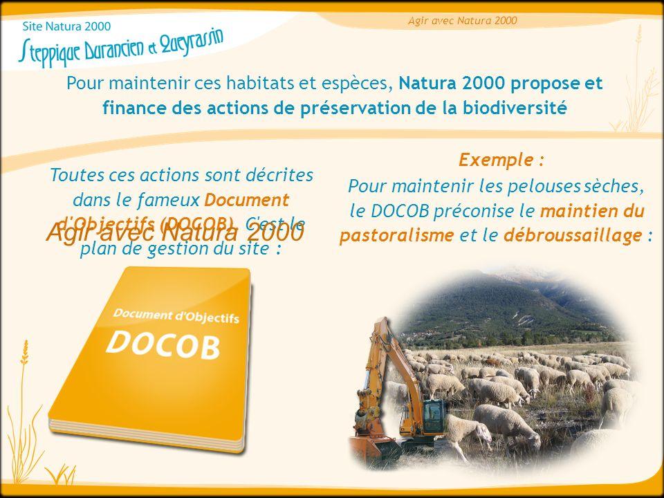 Agir avec Natura 2000 Pour maintenir ces habitats et espèces, Natura 2000 propose et finance des actions de préservation de la biodiversité.