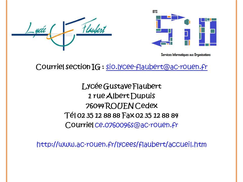 Courriel section IG : sio. lycee-flaubert@ac-rouen