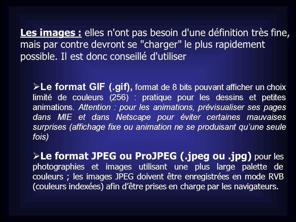 Les images : elles n ont pas besoin d une définition très fine, mais par contre devront se charger le plus rapidement possible. Il est donc conseillé d utiliser