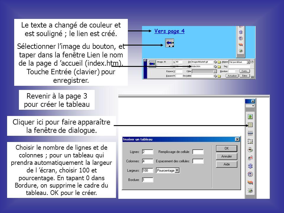 Le texte a changé de couleur et est souligné ; le lien est créé.