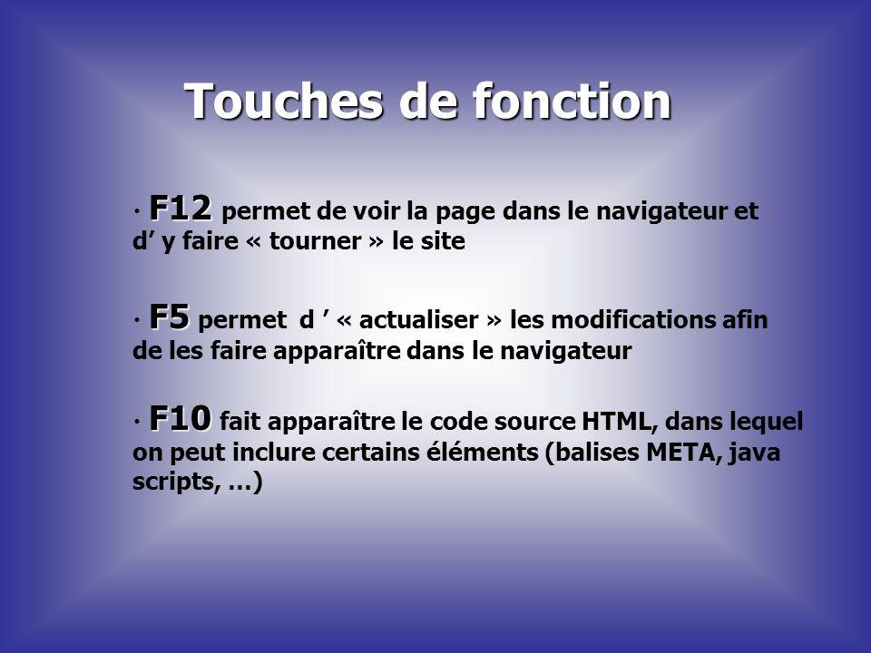 Touches de fonction F12 permet de voir la page dans le navigateur et d' y faire « tourner » le site.