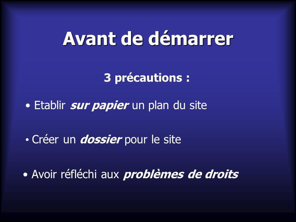 Avant de démarrer 3 précautions : Etablir sur papier un plan du site