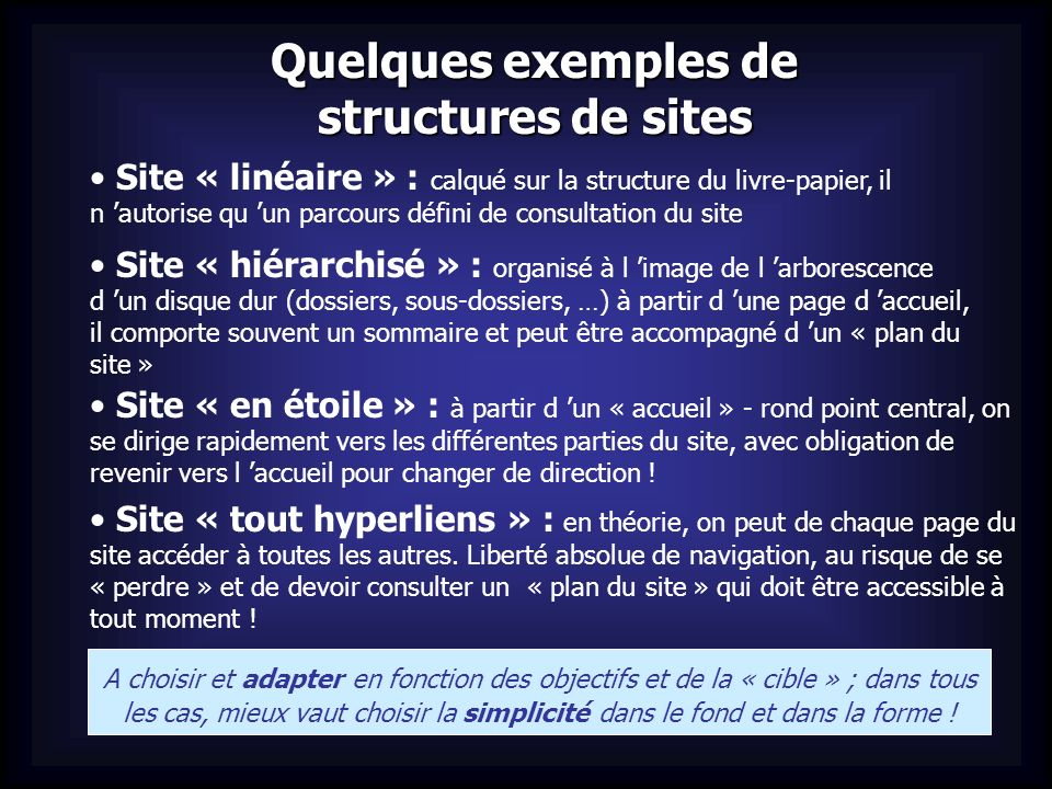 Quelques exemples de structures de sites