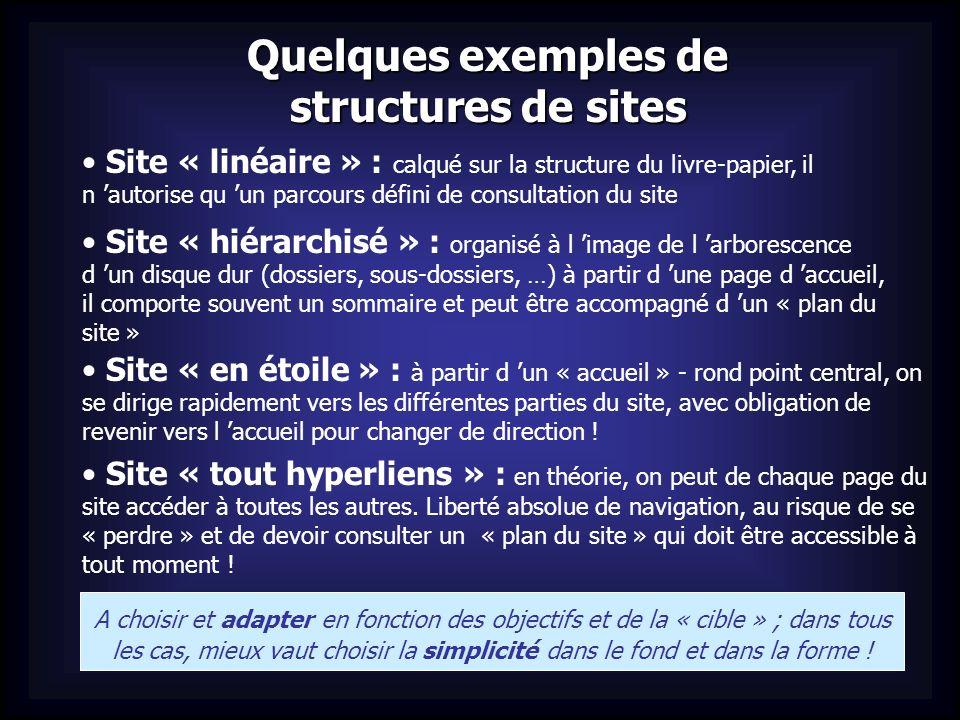 Quelques exemples de structures de sites