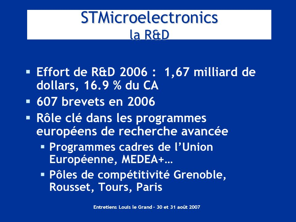 STMicroelectronics la R&D