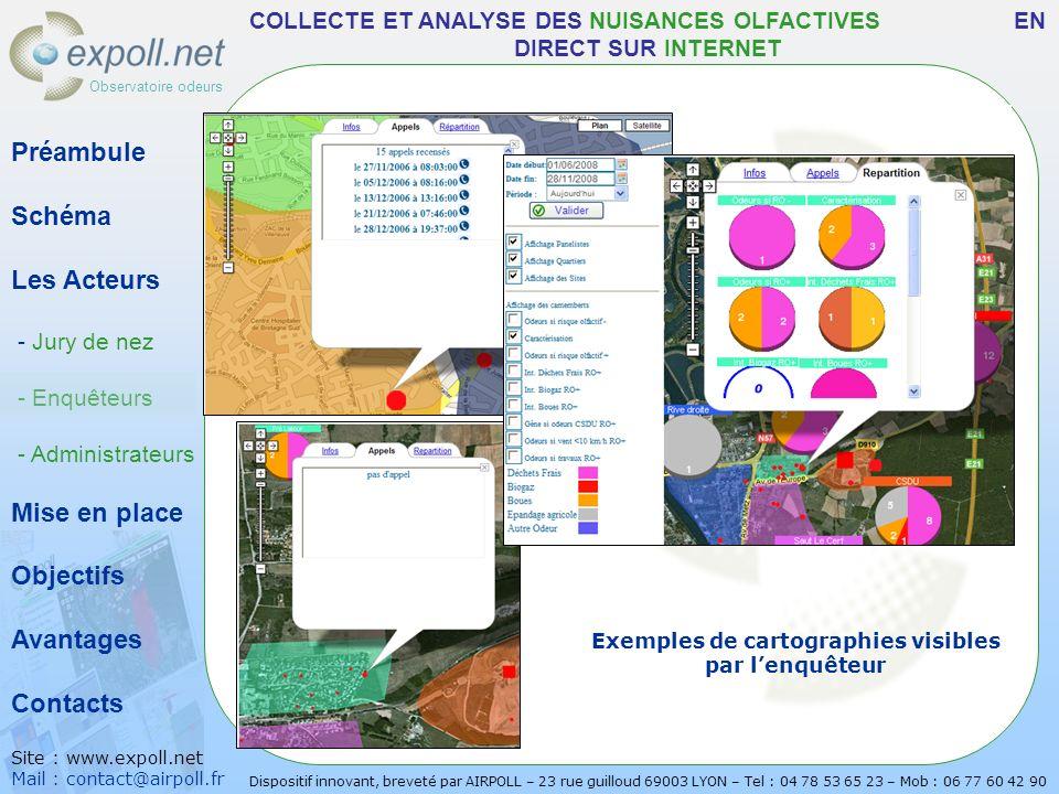 Exemples de cartographies visibles par l'enquêteur