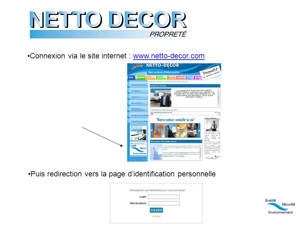 Connexion via le site internet : www.netto-decor.com