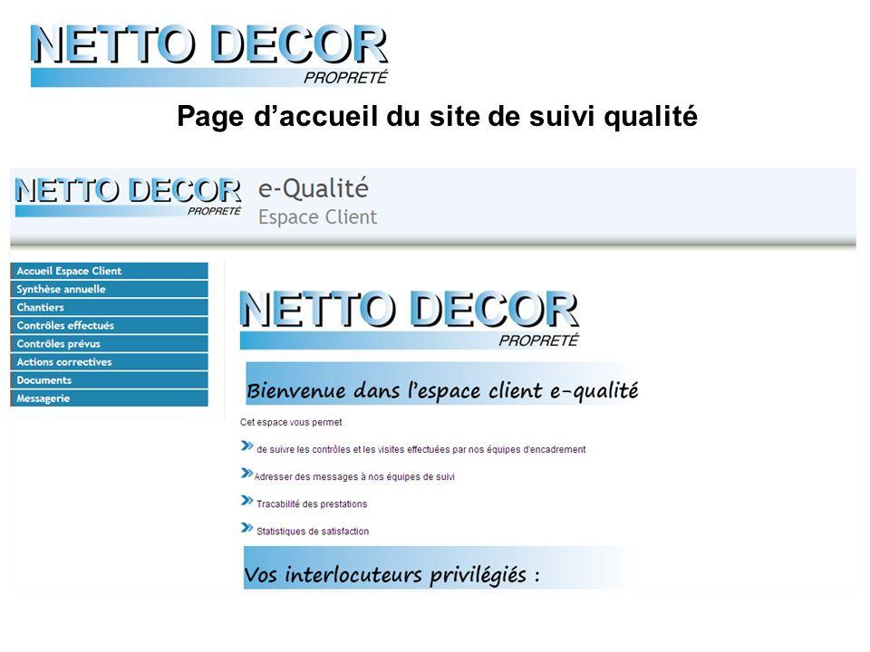 Page d'accueil du site de suivi qualité