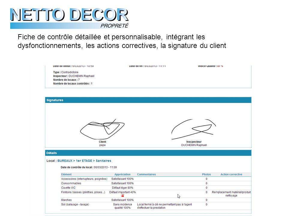 Fiche de contrôle détaillée et personnalisable, intégrant les dysfonctionnements, les actions correctives, la signature du client