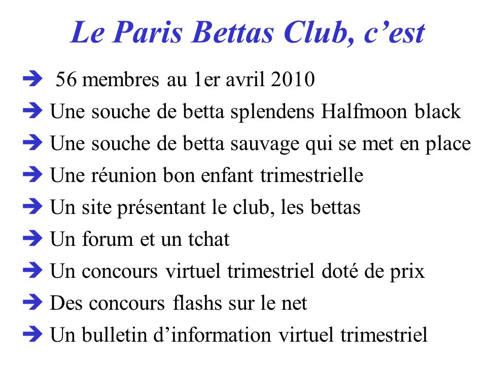 Le Paris Bettas Club, c'est