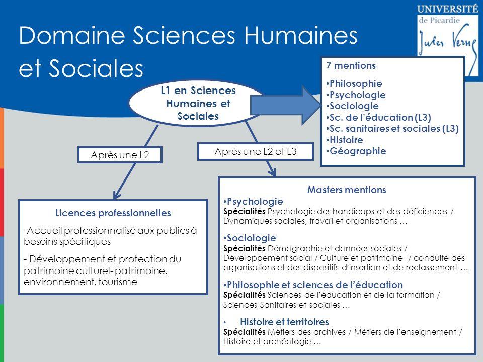 L1 en Sciences Humaines et Sociales Licences professionnelles