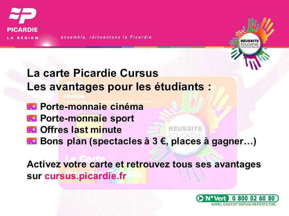 La carte Picardie Cursus Les avantages pour les étudiants :