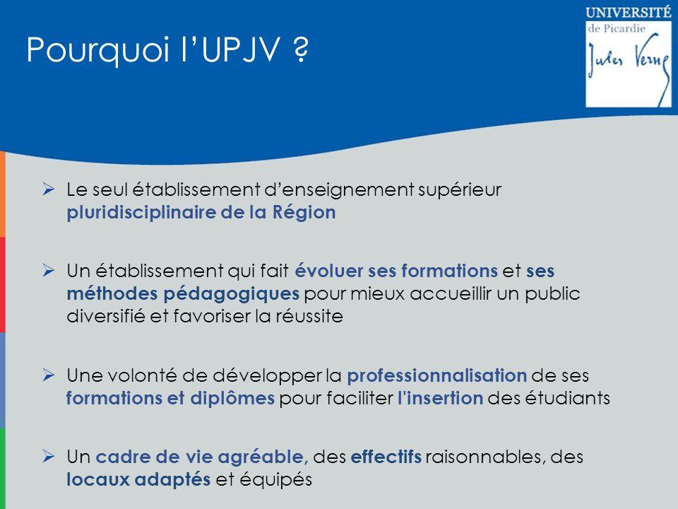 Pourquoi l'UPJV Le seul établissement d'enseignement supérieur pluridisciplinaire de la Région.