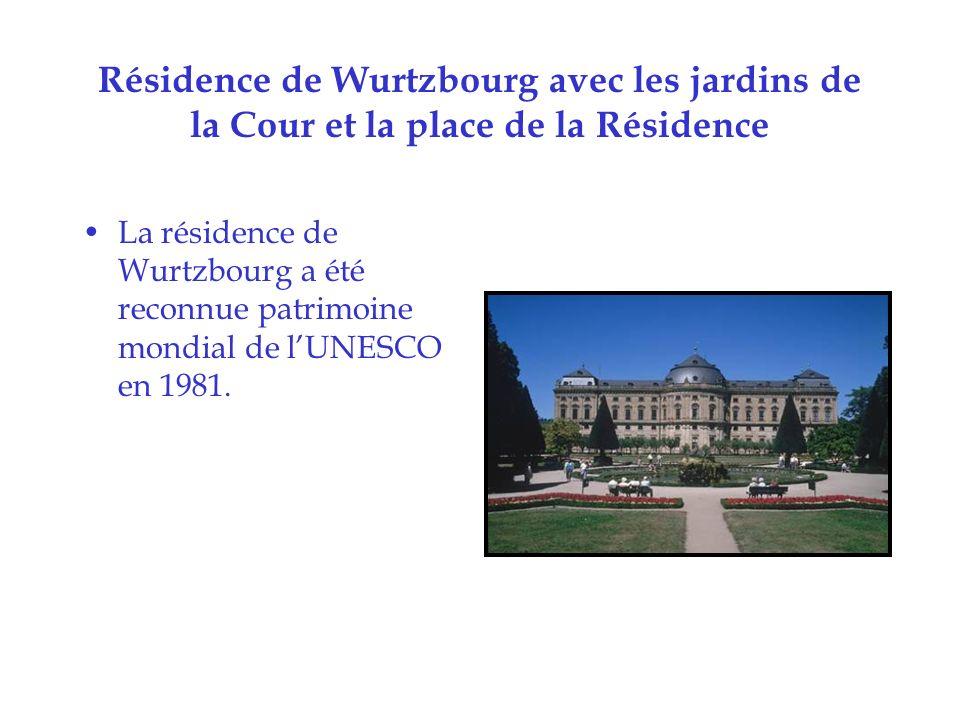 Résidence de Wurtzbourg avec les jardins de la Cour et la place de la Résidence