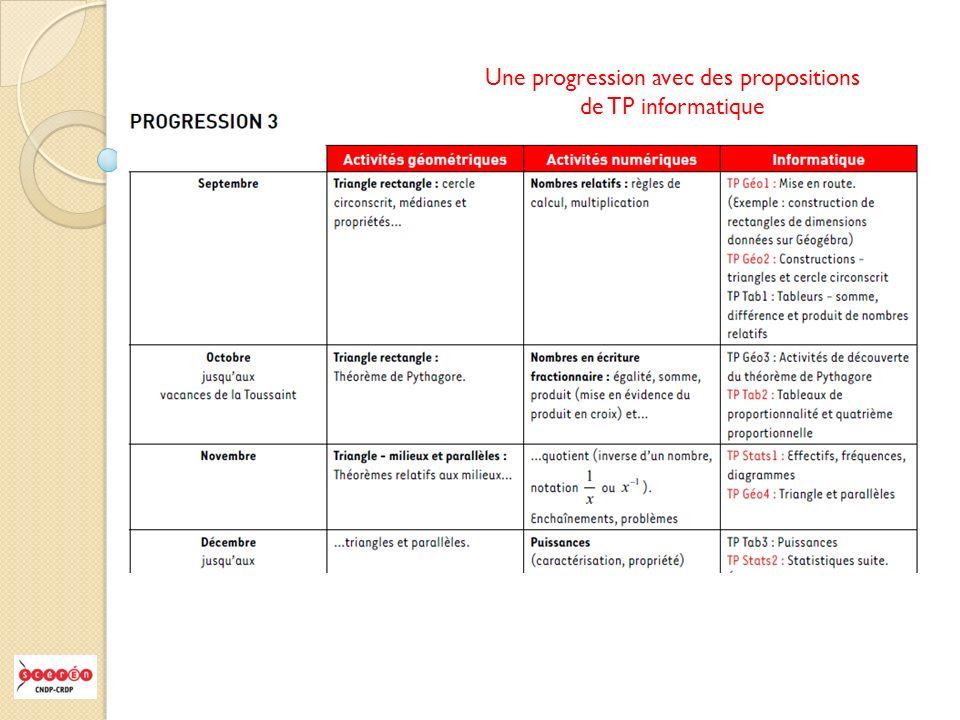 Une progression avec des propositions