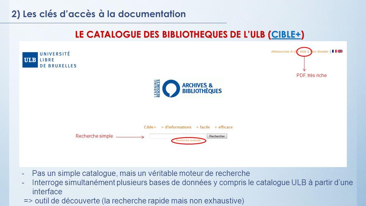LE CATALOGUE DES BIBLIOTHEQUES DE L'ULB (CIBLE+)