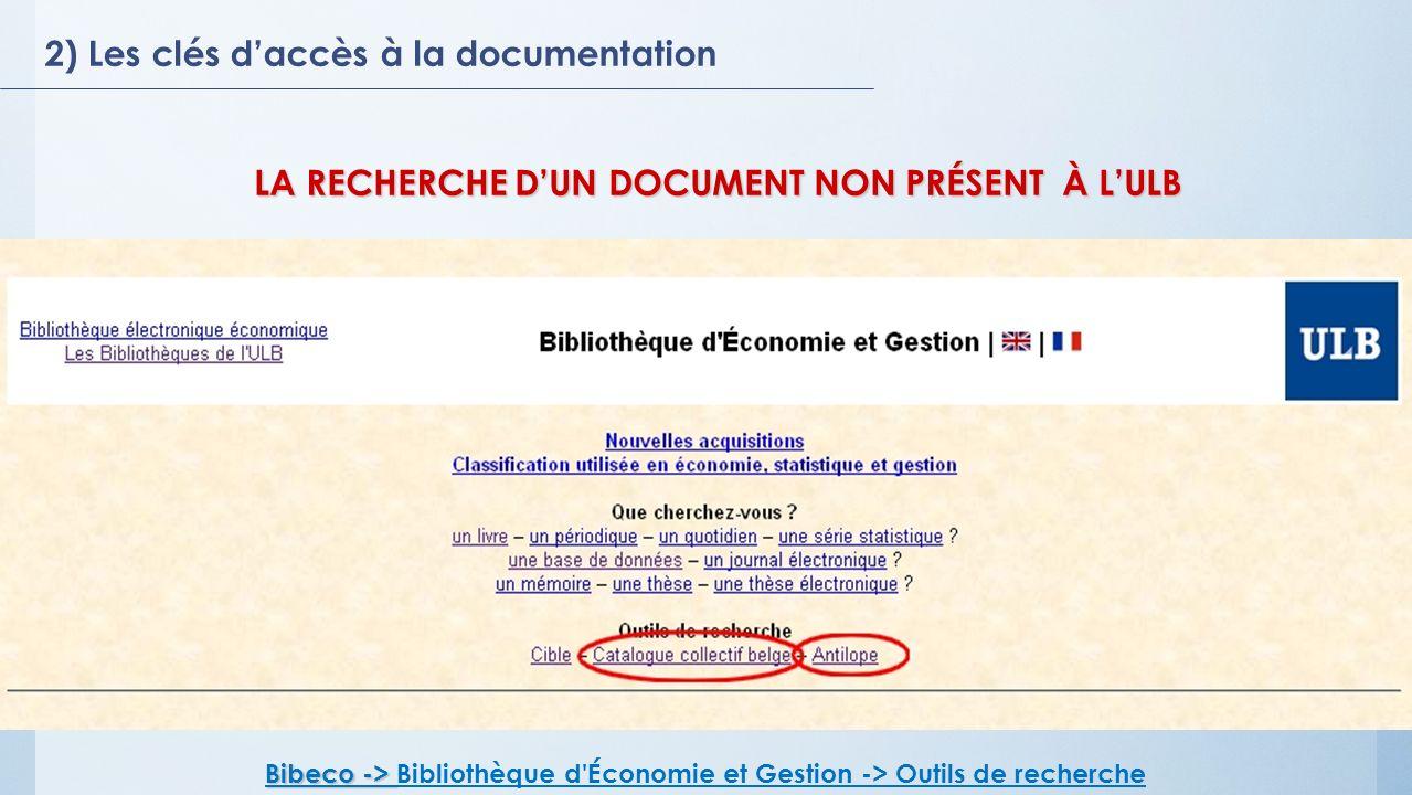 LA RECHERCHE D'UN DOCUMENT NON PRÉSENT À L'ULB